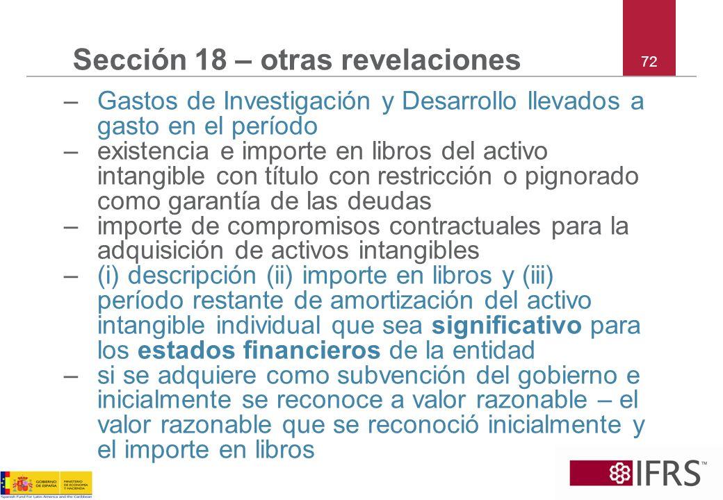 72 Sección 18 – otras revelaciones –Gastos de Investigación y Desarrollo llevados a gasto en el período –existencia e importe en libros del activo int