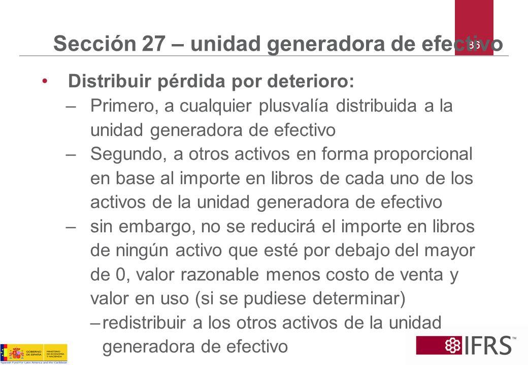 86 Sección 27 – unidad generadora de efectivo Distribuir pérdida por deterioro: –Primero, a cualquier plusvalía distribuida a la unidad generadora de