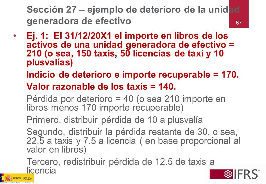 87 Sección 27 – ejemplo de deterioro de la unidad generadora de efectivo Ej. 1: El 31/12/20X1 el importe en libros de los activos de una unidad genera