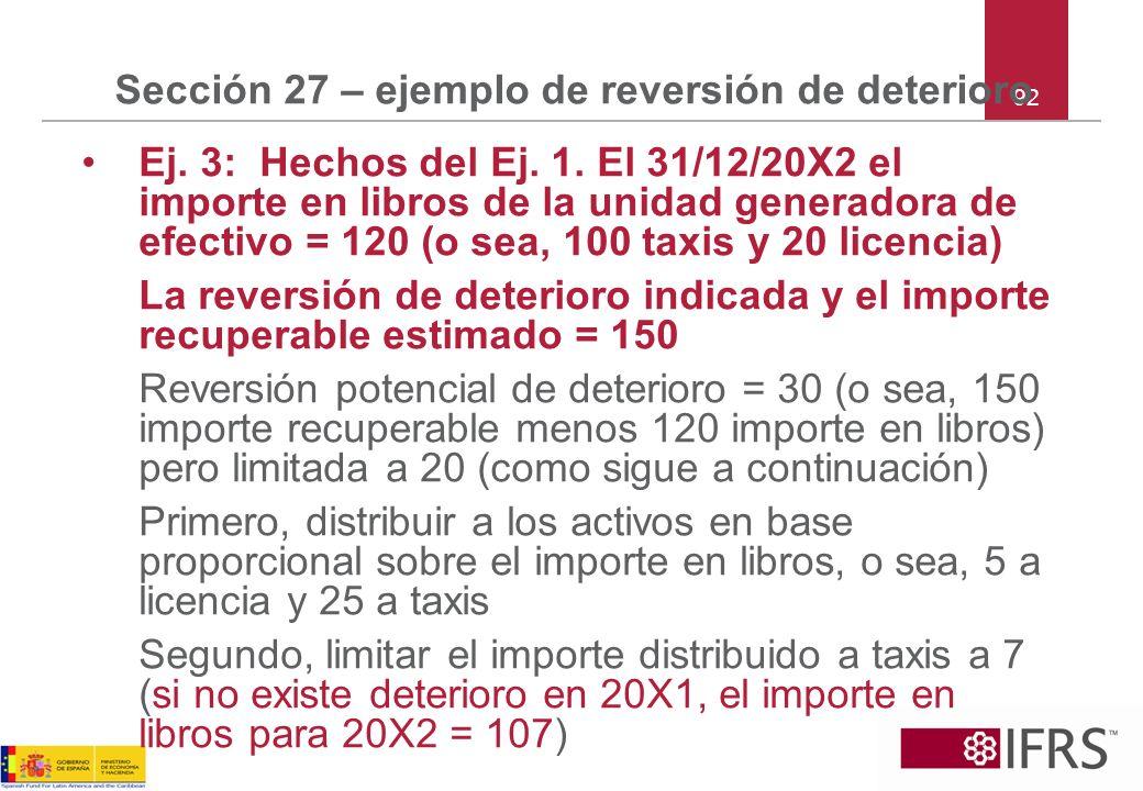 92 Sección 27 – ejemplo de reversión de deterioro Ej. 3: Hechos del Ej. 1. El 31/12/20X2 el importe en libros de la unidad generadora de efectivo = 12