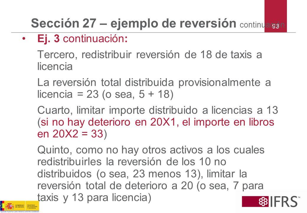 93 Sección 27 – ejemplo de reversión continuación Ej. 3 continuación: Tercero, redistribuir reversión de 18 de taxis a licencia La reversión total dis