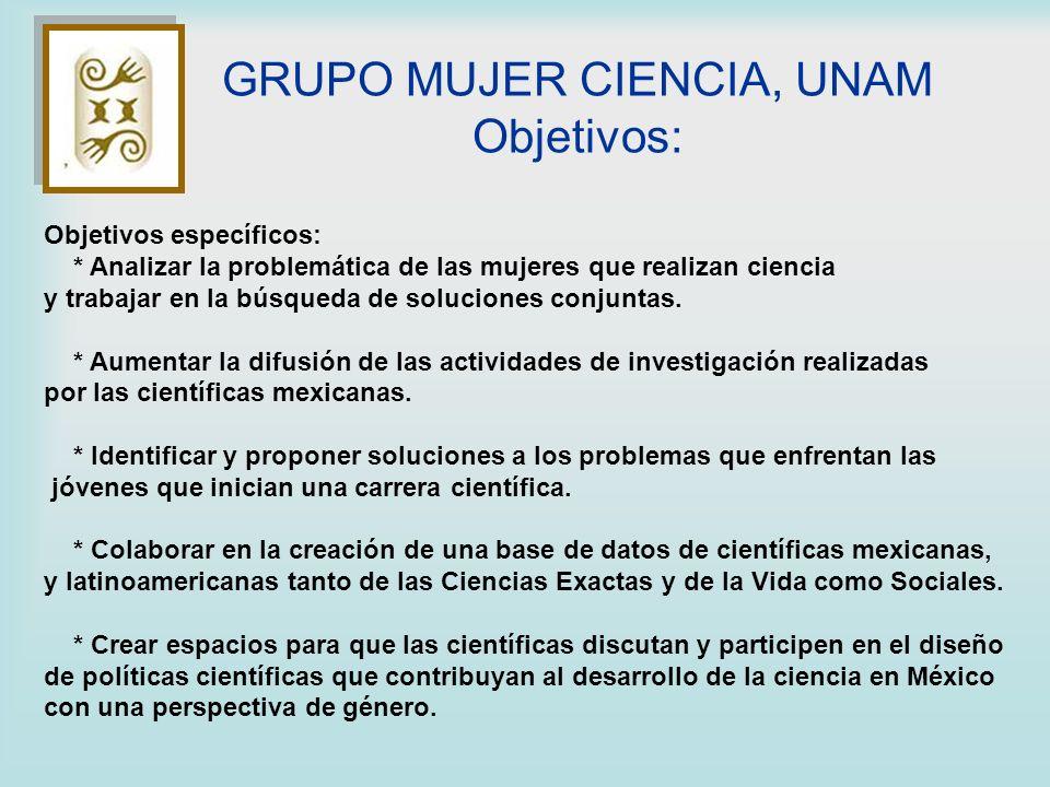 Objetivos específicos: * Analizar la problemática de las mujeres que realizan ciencia y trabajar en la búsqueda de soluciones conjuntas. * Aumentar la