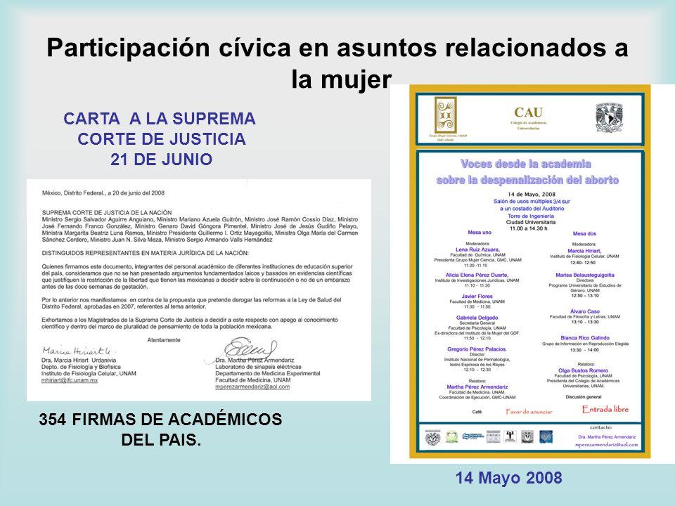 Participación cívica en asuntos relacionados a la mujer CARTA A LA SUPREMA CORTE DE JUSTICIA 21 DE JUNIO 354 FIRMAS DE ACADÉMICOS DEL PAIS. 14 Mayo 20