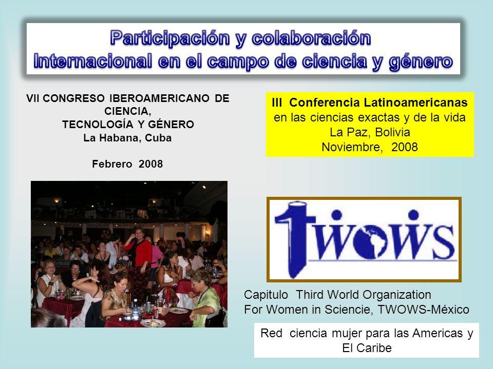 VII CONGRESO IBEROAMERICANO DE CIENCIA, TECNOLOGÍA Y GÉNERO La Habana, Cuba Febrero 2008 III Conferencia Latinoamericanas en las ciencias exactas y de