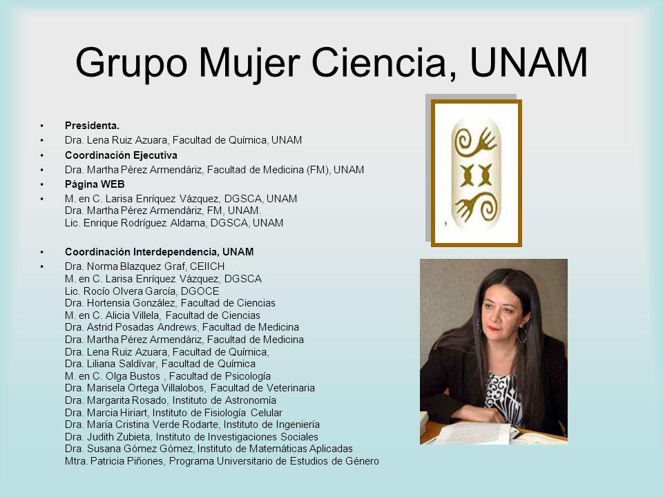 Grupo Mujer Ciencia, UNAM Presidenta. Dra. Lena Ruiz Azuara, Facultad de Química, UNAM Coordinación Ejecutiva Dra. Martha Pérez Armendáriz, Facultad d