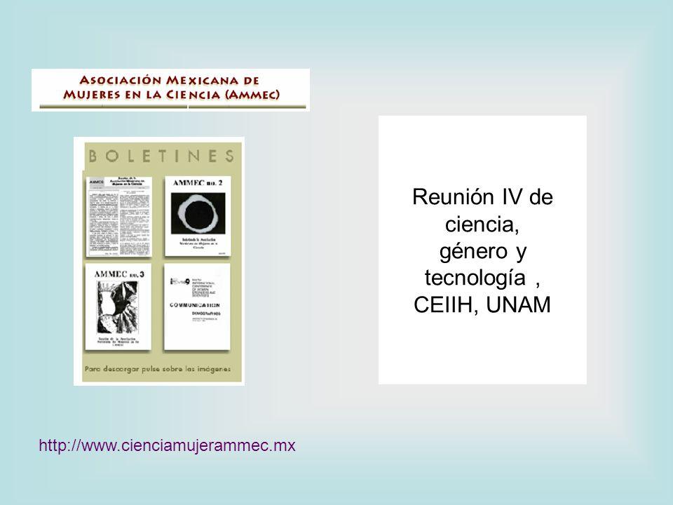 Reunión IV de ciencia, género y tecnología, CEIIH, UNAM http://www.cienciamujerammec.mx