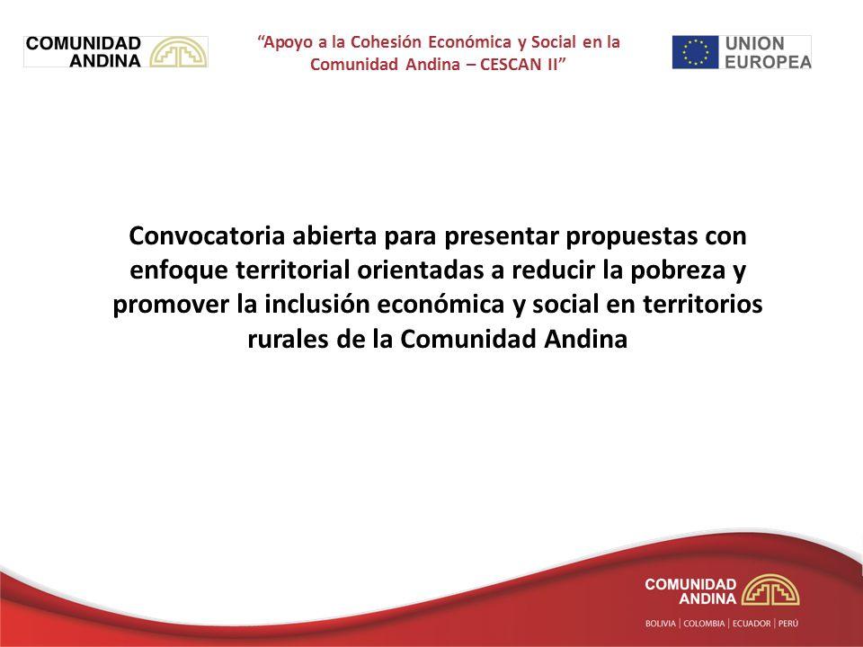 Convocatoria abierta para presentar propuestas con enfoque territorial orientadas a reducir la pobreza y promover la inclusión económica y social en territorios rurales de la Comunidad Andina