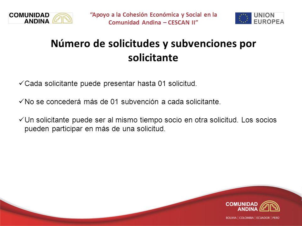 Número de solicitudes y subvenciones por solicitante Cada solicitante puede presentar hasta 01 solicitud.