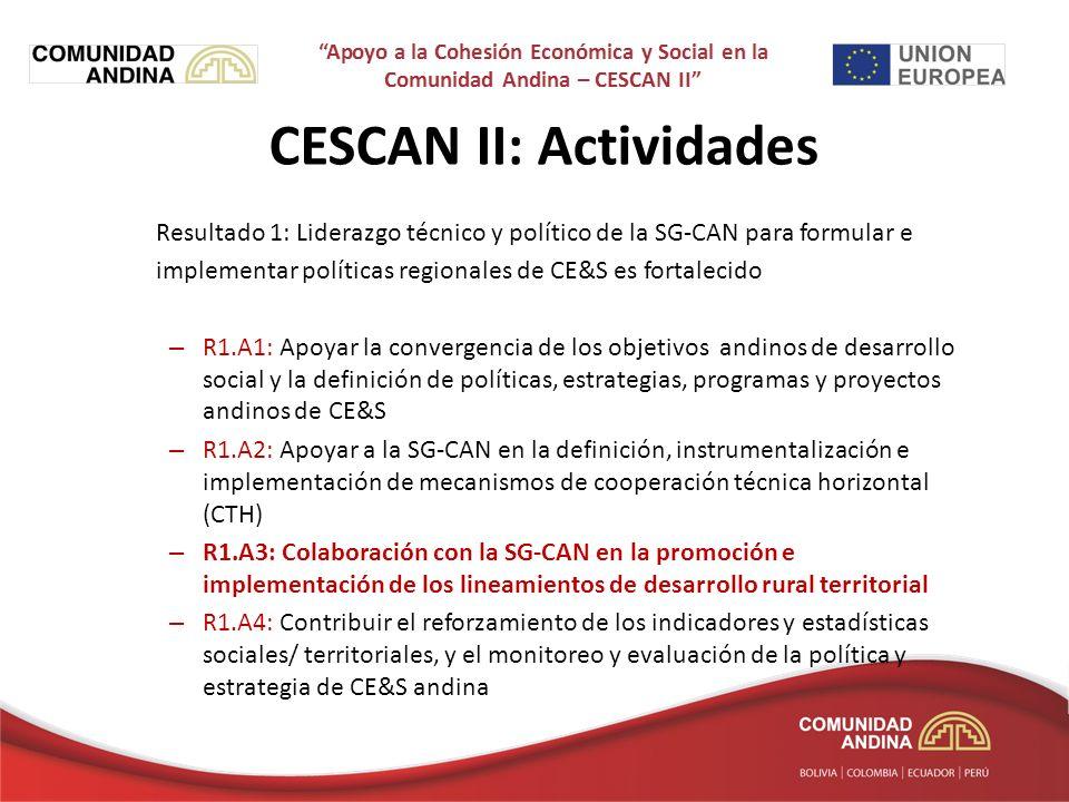 Resultado 1: Liderazgo técnico y político de la SG-CAN para formular e implementar políticas regionales de CE&S es fortalecido – R1.A1: Apoyar la convergencia de los objetivos andinos de desarrollo social y la definición de políticas, estrategias, programas y proyectos andinos de CE&S – R1.A2: Apoyar a la SG-CAN en la definición, instrumentalización e implementación de mecanismos de cooperación técnica horizontal (CTH) – R1.A3: Colaboración con la SG-CAN en la promoción e implementación de los lineamientos de desarrollo rural territorial – R1.A4: Contribuir el reforzamiento de los indicadores y estadísticas sociales/ territoriales, y el monitoreo y evaluación de la política y estrategia de CE&S andina CESCAN II: Actividades