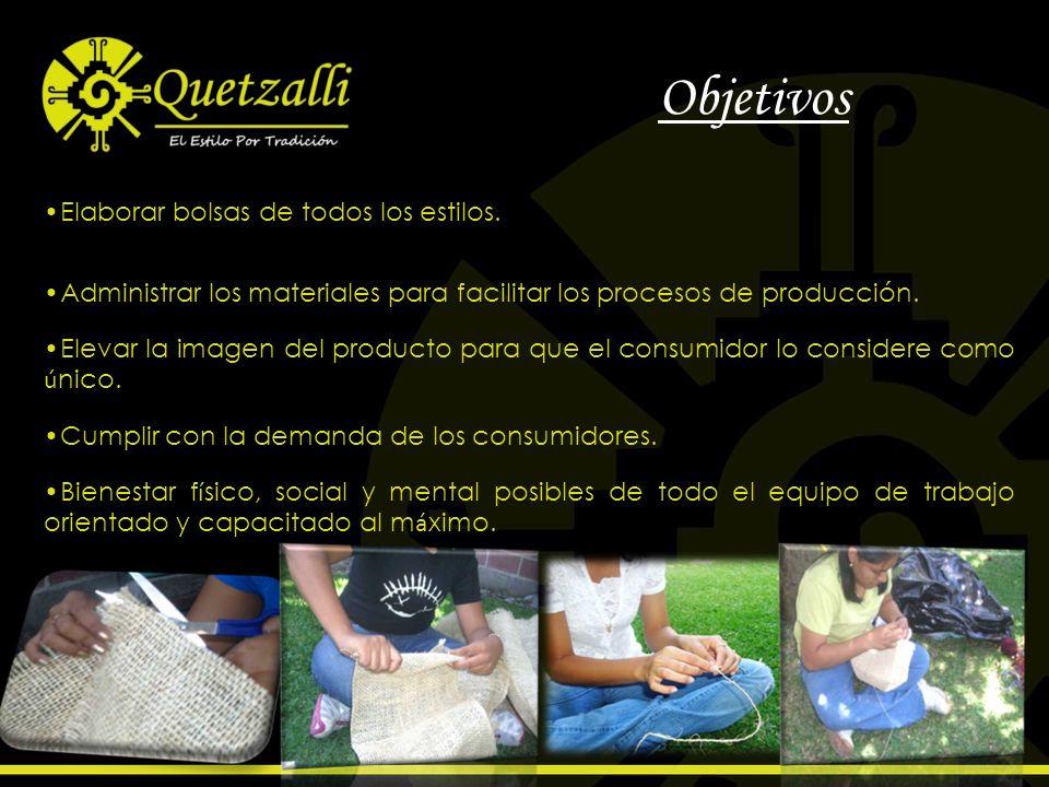 Objetivos Elaborar bolsas de todos los estilos. Administrar los materiales para facilitar los procesos de producción. Elevar la imagen del producto pa