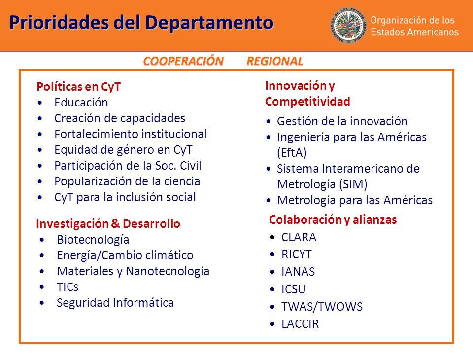 Prioridades del Departamento Políticas en CyT Educación Creación de capacidades Fortalecimiento institucional Equidad de género en CyT Participación d