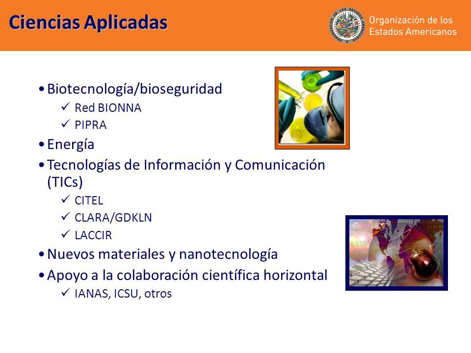 Biotecnología/bioseguridad Red BIONNA PIPRA Energía Tecnologías de Información y Comunicación (TICs) CITEL CLARA/GDKLN LACCIR Nuevos materiales y nanotecnología Apoyo a la colaboración científica horizontal IANAS, ICSU, otros Ciencias Aplicadas