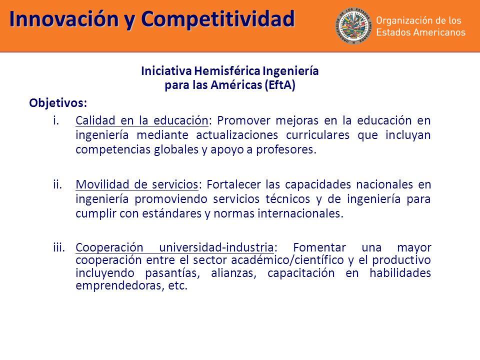 Innovación y Competitividad Iniciativa Hemisférica Ingeniería para las Américas (EftA) Objetivos: i.Calidad en la educación: Promover mejoras en la ed