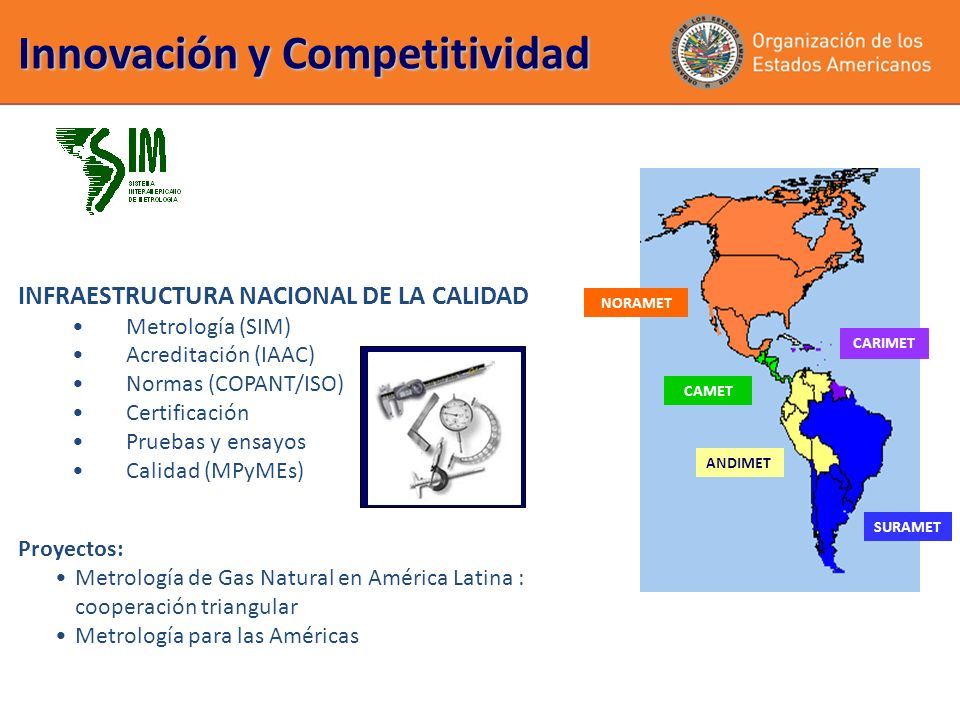 INFRAESTRUCTURA NACIONAL DE LA CALIDAD Metrología (SIM) Acreditación (IAAC) Normas (COPANT/ISO) Certificación Pruebas y ensayos Calidad (MPyMEs) Innovación y Competitividad SURAMET NORAMET ANDIMET CAMET CARIMET Proyectos: Metrología de Gas Natural en América Latina : cooperación triangular Metrología para las Américas