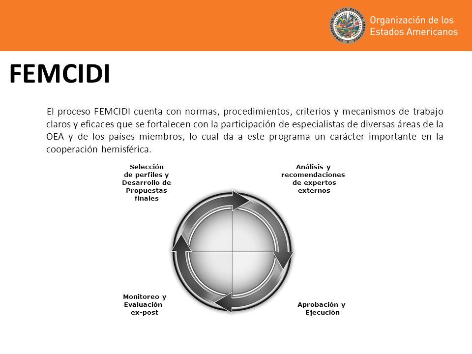 FEMCIDI El proceso FEMCIDI cuenta con normas, procedimientos, criterios y mecanismos de trabajo claros y eficaces que se fortalecen con la participación de especialistas de diversas áreas de la OEA y de los países miembros, lo cual da a este programa un carácter importante en la cooperación hemisférica.