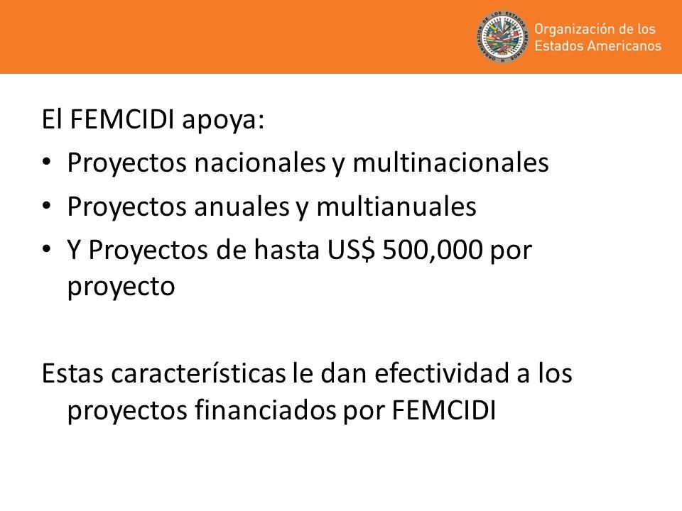 El FEMCIDI apoya: Proyectos nacionales y multinacionales Proyectos anuales y multianuales Y Proyectos de hasta US$ 500,000 por proyecto Estas características le dan efectividad a los proyectos financiados por FEMCIDI