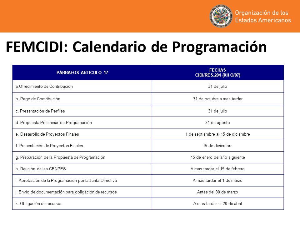 FEMCIDI: Calendario de Programación PÁRRAFOS ARTICULO 17 FECHAS CIDI/RES.204 (XII-O/07) a.Ofrecimiento de Contribución31 de julio b. Pago de Contribuc