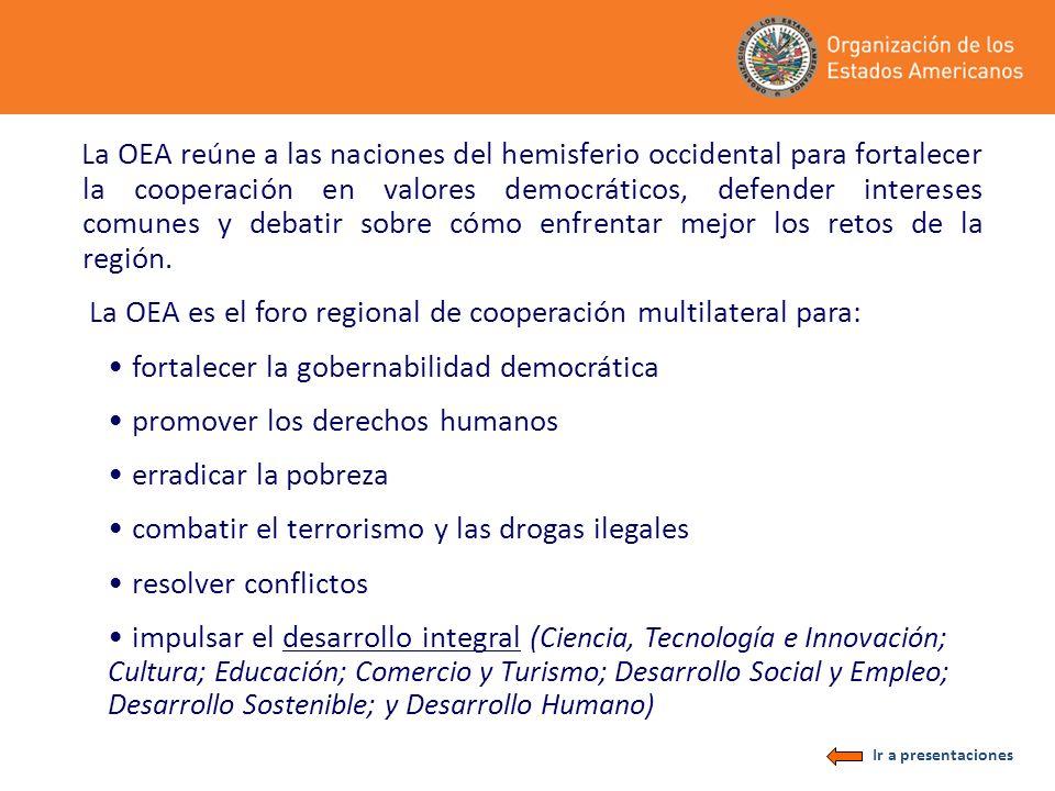 La OEA reúne a las naciones del hemisferio occidental para fortalecer la cooperación en valores democráticos, defender intereses comunes y debatir sob