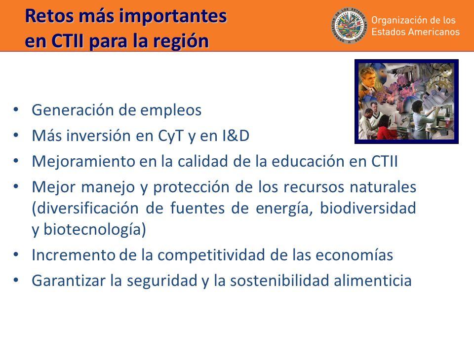 Retos más importantes en CTII para la región Generación de empleos Más inversión en CyT y en I&D Mejoramiento en la calidad de la educación en CTII Mejor manejo y protección de los recursos naturales (diversificación de fuentes de energía, biodiversidad y biotecnología) Incremento de la competitividad de las economías Garantizar la seguridad y la sostenibilidad alimenticia