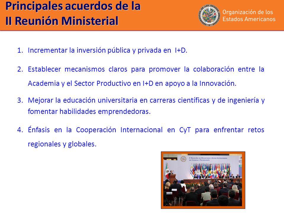Principales acuerdos de la II Reunión Ministerial 1.Incrementar la inversión pública y privada en I+D. 2.Establecer mecanismos claros para promover la