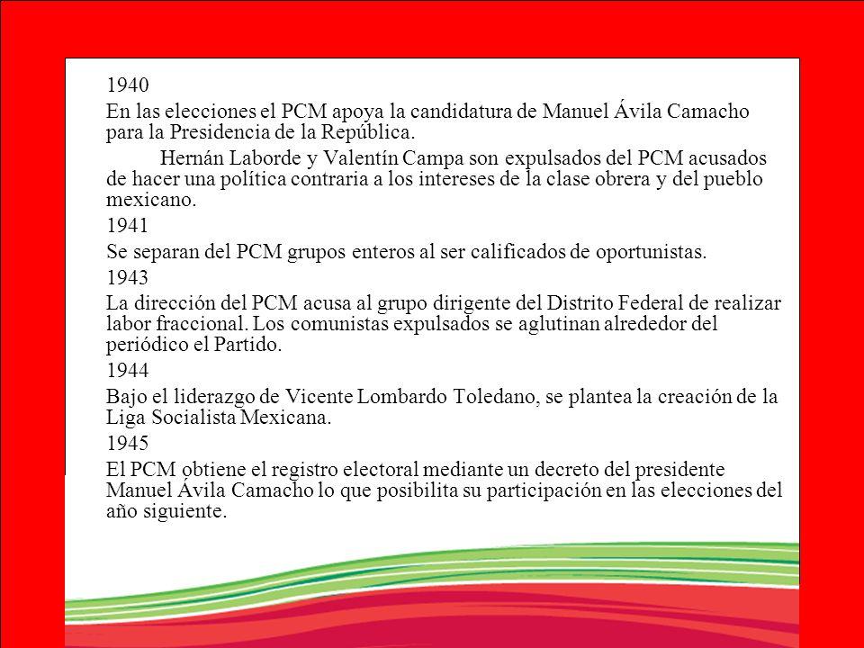 1940 En las elecciones el PCM apoya la candidatura de Manuel Ávila Camacho para la Presidencia de la República. Hernán Laborde y Valentín Campa son ex