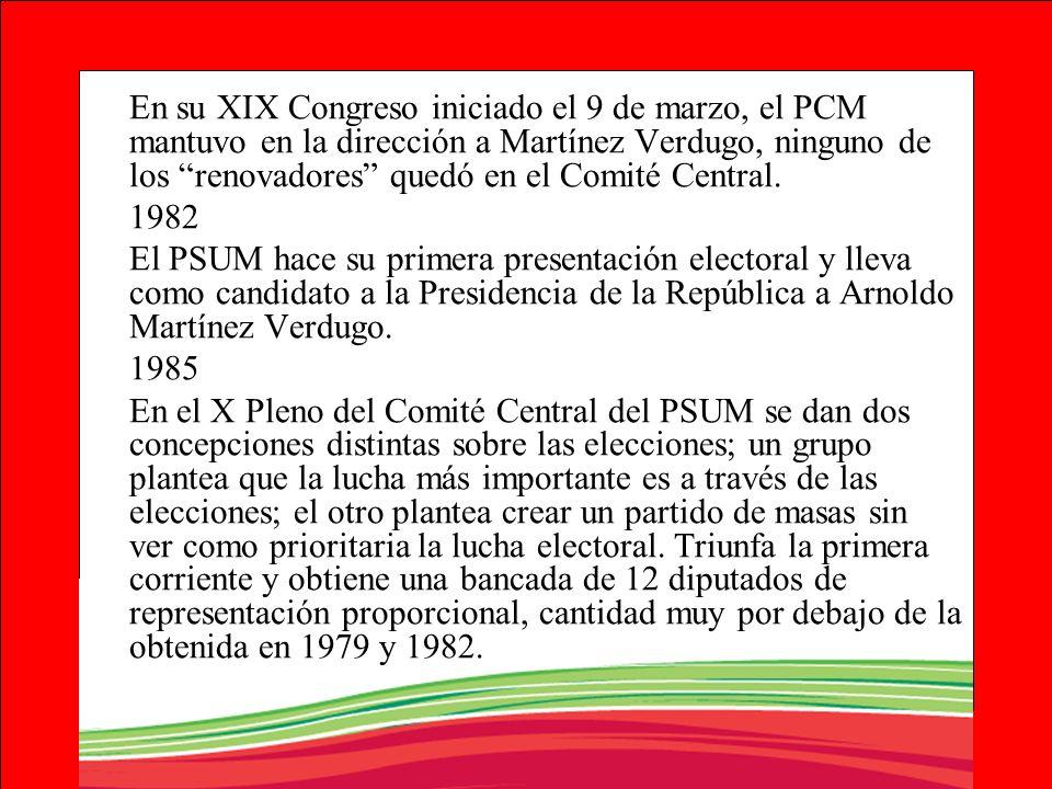 En su XIX Congreso iniciado el 9 de marzo, el PCM mantuvo en la dirección a Martínez Verdugo, ninguno de los renovadores quedó en el Comité Central. 1