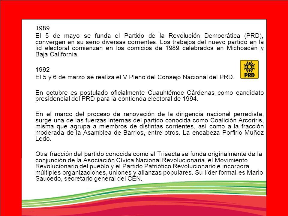 1989 El 5 de mayo se funda el Partido de la Revolución Democrática (PRD), convergen en su seno diversas corrientes. Los trabajos del nuevo partido en