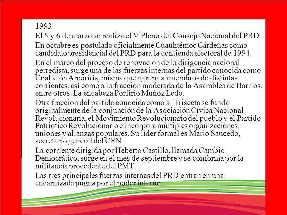 1993 El 5 y 6 de marzo se realiza el V Pleno del Consejo Nacional del PRD. En octubre es postulado oficialmente Cuauhtémoc Cárdenas como candidato pre