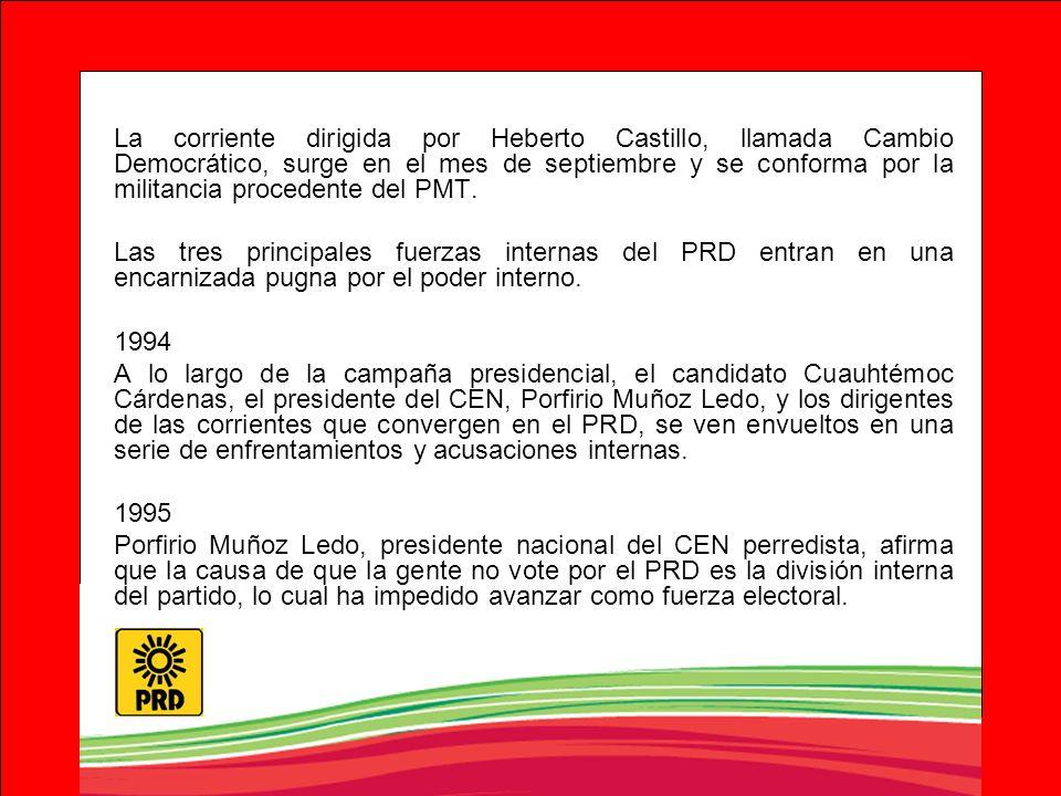 La corriente dirigida por Heberto Castillo, llamada Cambio Democrático, surge en el mes de septiembre y se conforma por la militancia procedente del P