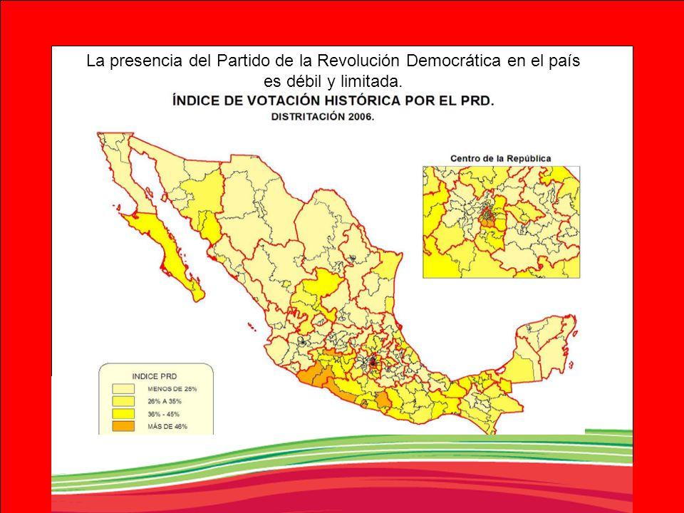 La presencia del Partido de la Revolución Democrática en el país es débil y limitada.