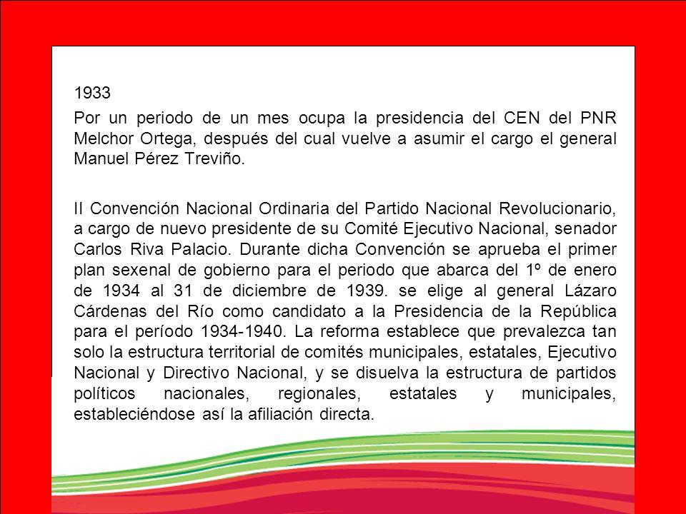 1933 Por un periodo de un mes ocupa la presidencia del CEN del PNR Melchor Ortega, después del cual vuelve a asumir el cargo el general Manuel Pérez T