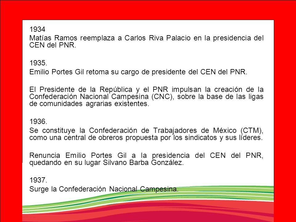 1934 Matías Ramos reemplaza a Carlos Riva Palacio en la presidencia del CEN del PNR. 1935. Emilio Portes Gil retoma su cargo de presidente del CEN del
