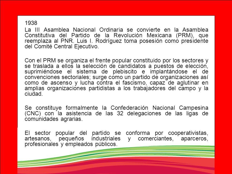 1938 La III Asamblea Nacional Ordinaria se convierte en la Asamblea Constitutiva del Partido de la Revolución Mexicana (PRM), que reemplaza al PNR. Lu