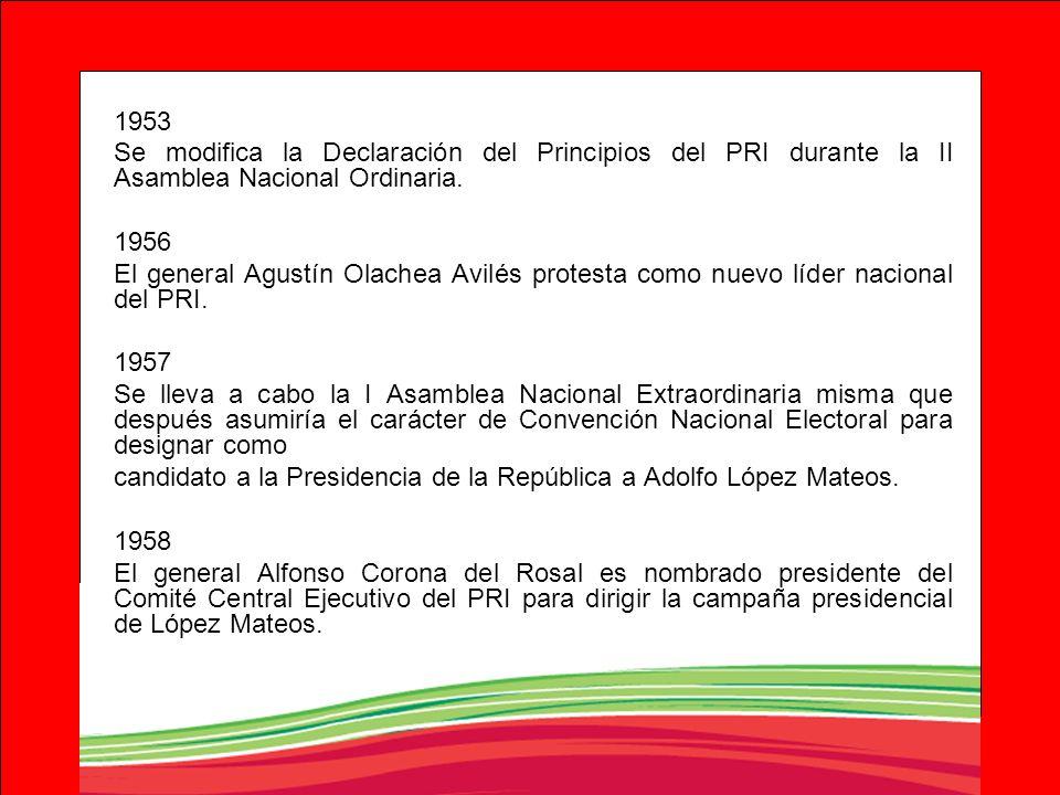 1953 Se modifica la Declaración del Principios del PRI durante la II Asamblea Nacional Ordinaria. 1956 El general Agustín Olachea Avilés protesta como