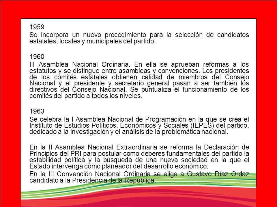 1959 Se incorpora un nuevo procedimiento para la selección de candidatos estatales, locales y municipales del partido. 1960 III Asamblea Nacional Ordi