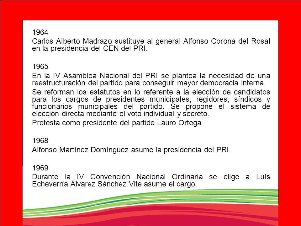 1964 Carlos Alberto Madrazo sustituye al general Alfonso Corona del Rosal en la presidencia del CEN del PRI. 1965 En la IV Asamblea Nacional del PRI s