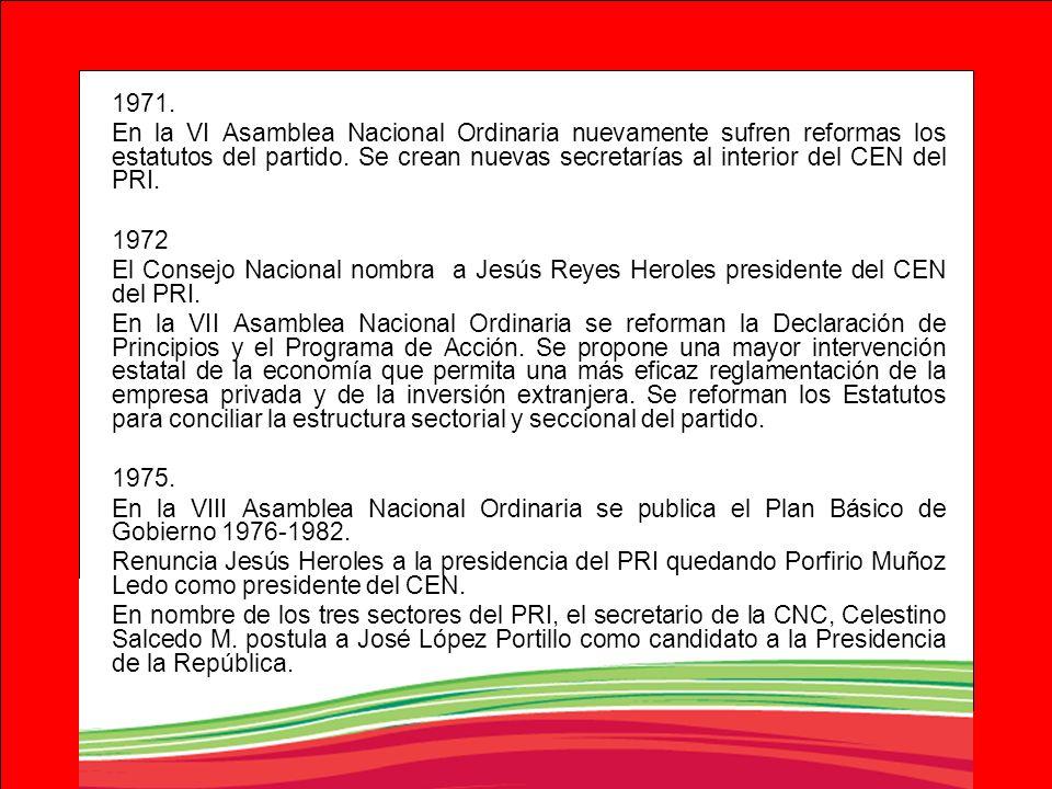 1971. En la VI Asamblea Nacional Ordinaria nuevamente sufren reformas los estatutos del partido. Se crean nuevas secretarías al interior del CEN del P