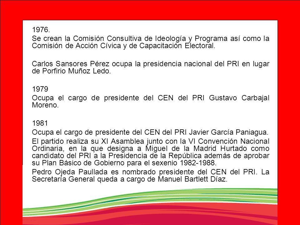 1976. Se crean la Comisión Consultiva de Ideología y Programa así como la Comisión de Acción Cívica y de Capacitación Electoral. Carlos Sansores Pérez
