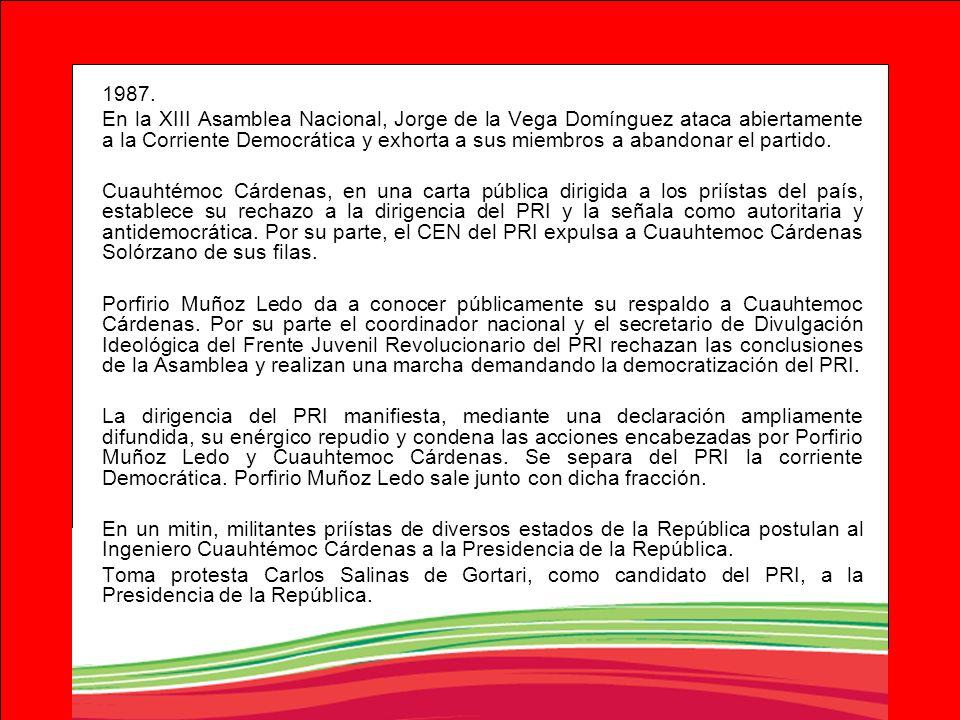 1987. En la XIII Asamblea Nacional, Jorge de la Vega Domínguez ataca abiertamente a la Corriente Democrática y exhorta a sus miembros a abandonar el p