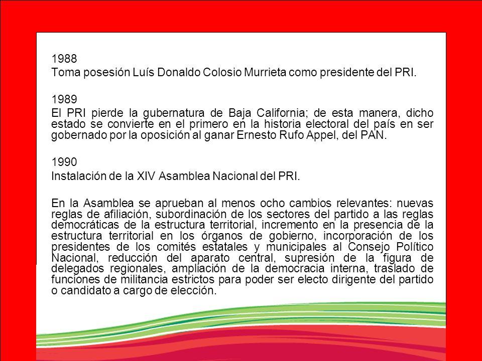 1988 Toma posesión Luís Donaldo Colosio Murrieta como presidente del PRI. 1989 El PRI pierde la gubernatura de Baja California; de esta manera, dicho