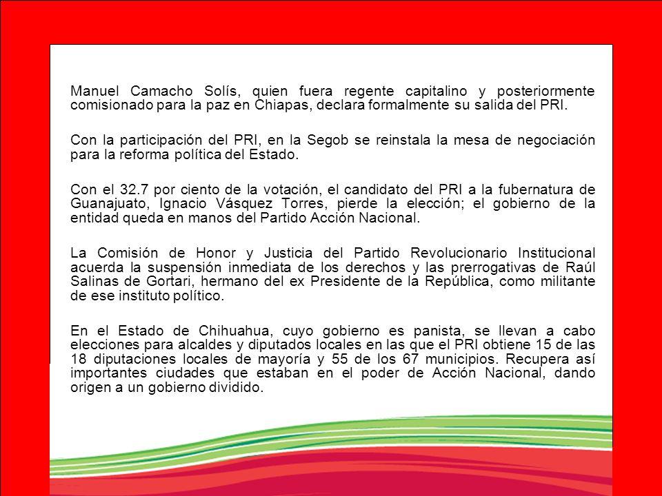 Manuel Camacho Solís, quien fuera regente capitalino y posteriormente comisionado para la paz en Chiapas, declara formalmente su salida del PRI. Con l