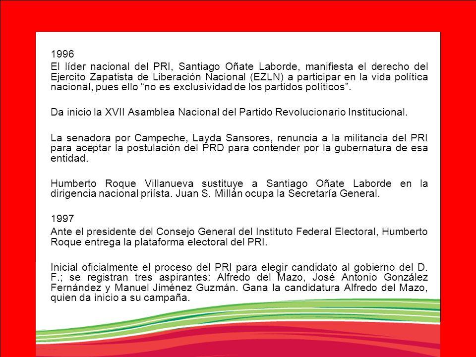 1996 El líder nacional del PRI, Santiago Oñate Laborde, manifiesta el derecho del Ejercito Zapatista de Liberación Nacional (EZLN) a participar en la