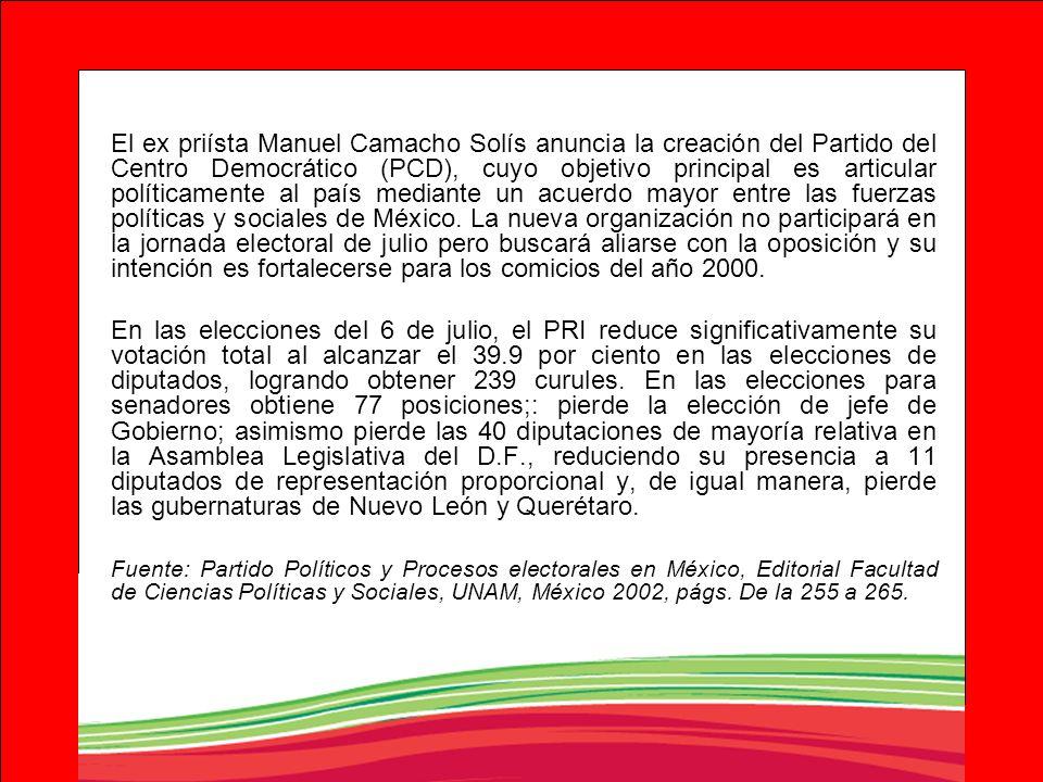 El ex priísta Manuel Camacho Solís anuncia la creación del Partido del Centro Democrático (PCD), cuyo objetivo principal es articular políticamente al