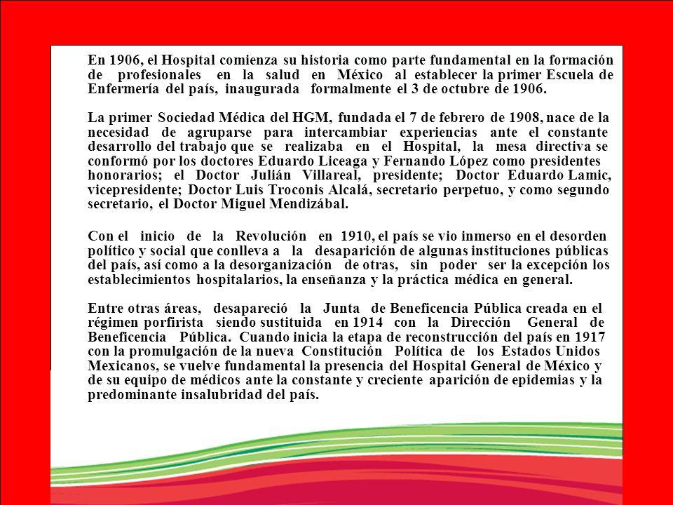 En 1906, el Hospital comienza su historia como parte fundamental en la formación de profesionales en la salud en México al establecer la primer Escuel