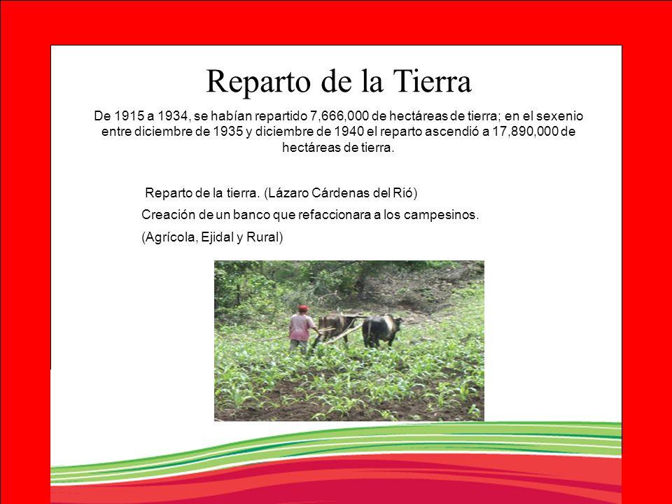 Reparto de la tierra. (Lázaro Cárdenas del Rió) Creación de un banco que refaccionara a los campesinos. (Agrícola, Ejidal y Rural) Reparto de la Tierr
