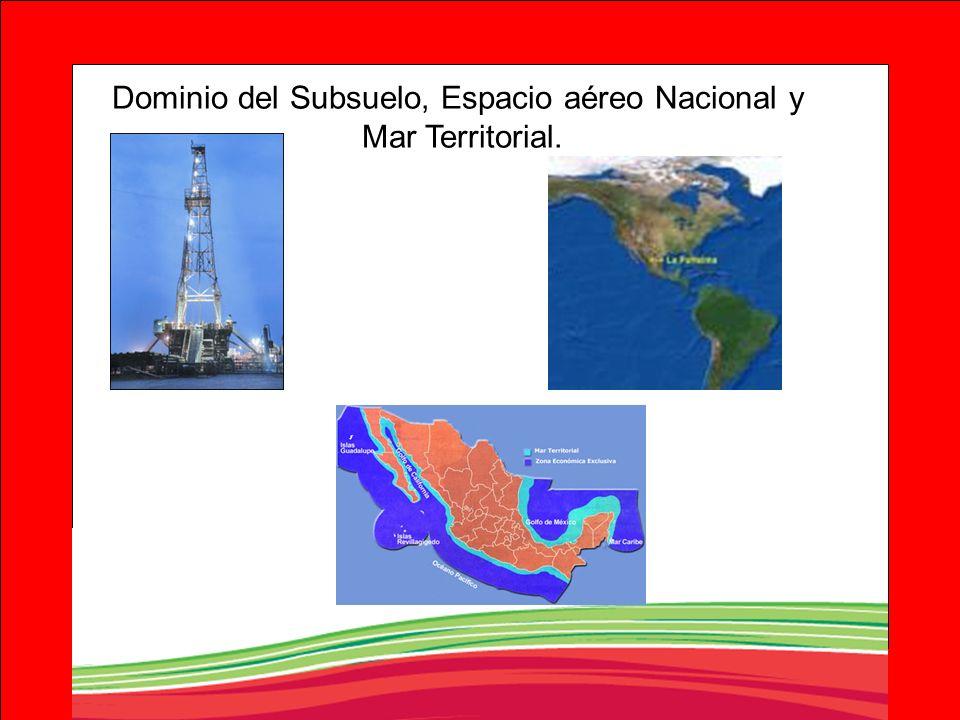 Dominio del Subsuelo, Espacio aéreo Nacional y Mar Territorial.