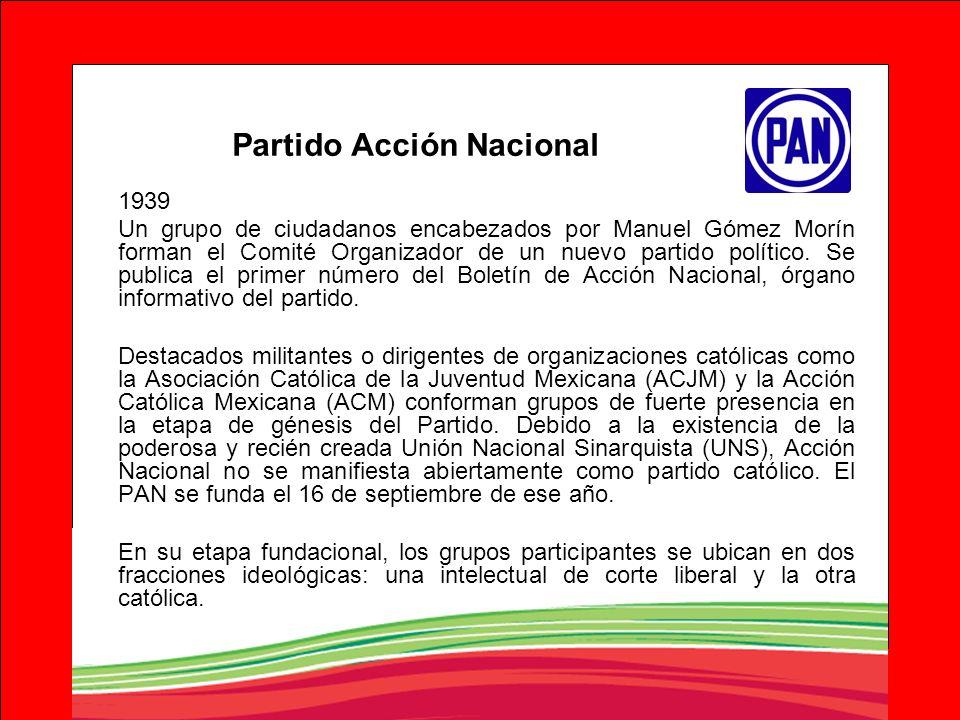 Partido Acción Nacional 1939 Un grupo de ciudadanos encabezados por Manuel Gómez Morín forman el Comité Organizador de un nuevo partido político. Se p