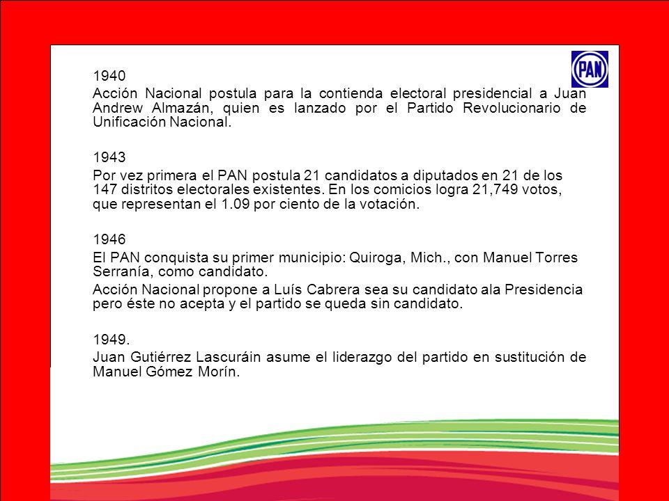 1940 Acción Nacional postula para la contienda electoral presidencial a Juan Andrew Almazán, quien es lanzado por el Partido Revolucionario de Unifica