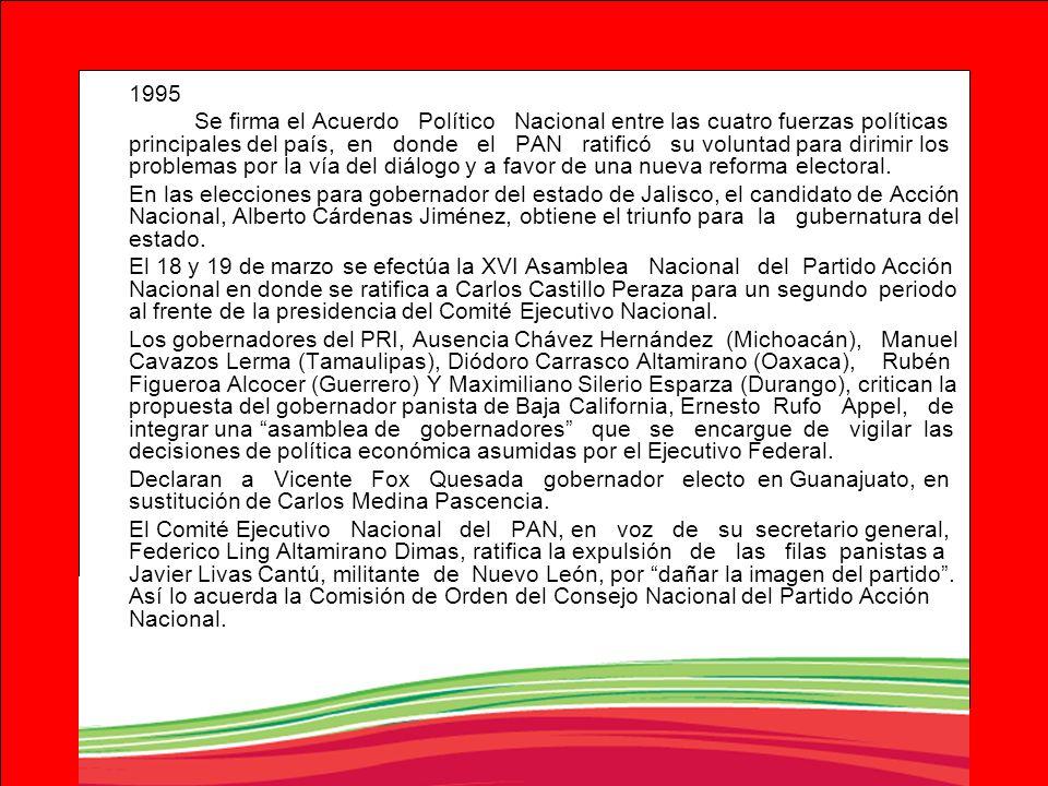 1995 Se firma el Acuerdo Político Nacional entre las cuatro fuerzas políticas principales del país, en donde el PAN ratificó su voluntad para dirimir