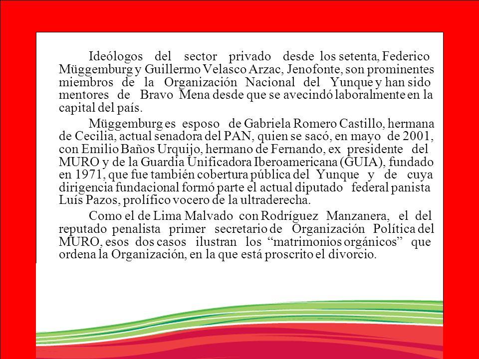 Ideólogos del sector privado desde los setenta, Federico Müggemburg y Guillermo Velasco Arzac, Jenofonte, son prominentes miembros de la Organización